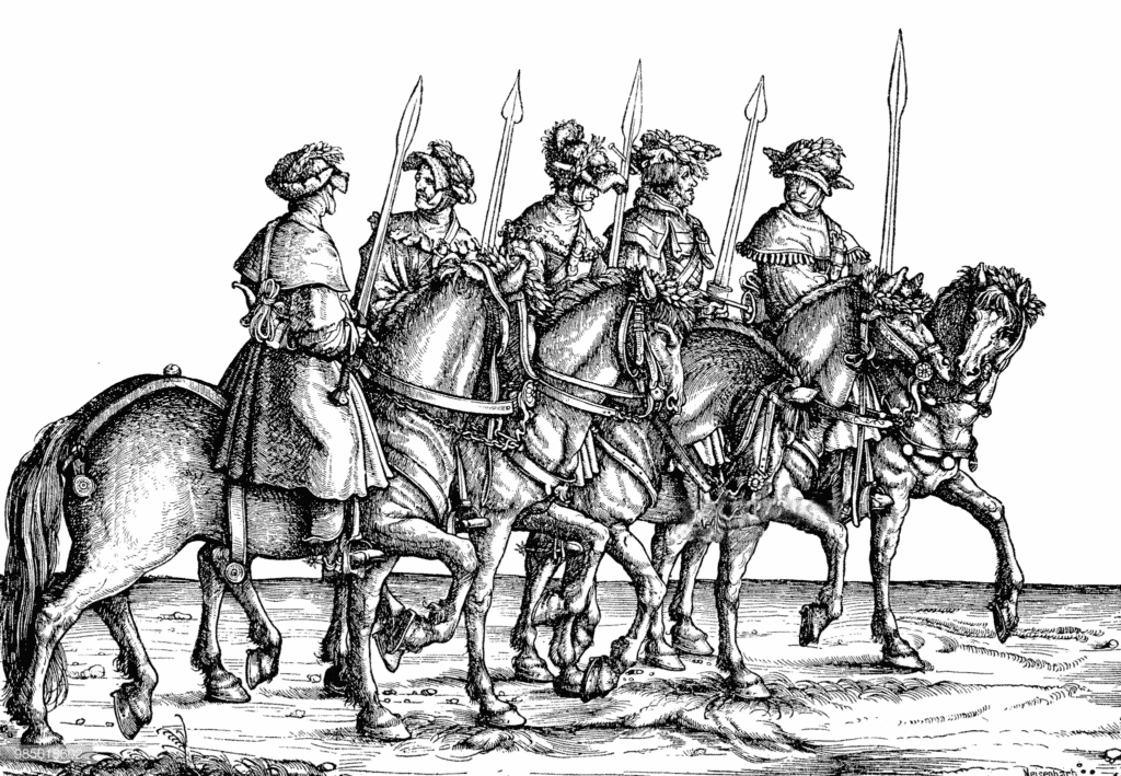 Wild boar hunters with boar swords Triumphal Procession of Maximilian I. 1526
