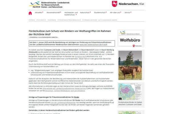 Förderkulisse zum Schutz von Rindern vor Wolfsangriffen im Rahmen der Richtlinie Wolf
