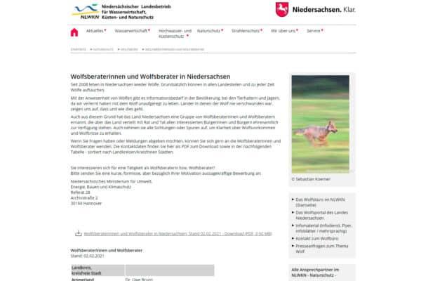 Wolfsberaterinnen und Wolfsberater in Niedersachsen