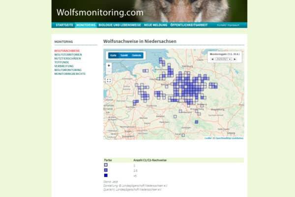 Wolfsnachweise in Niedersachsen